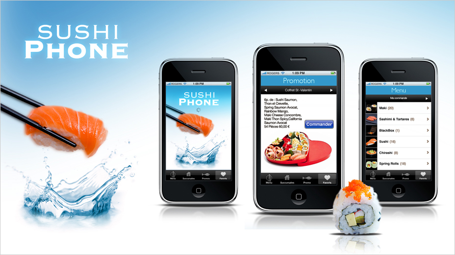 Work: ergonomic, interactive design. Sushis delivery iPhone app